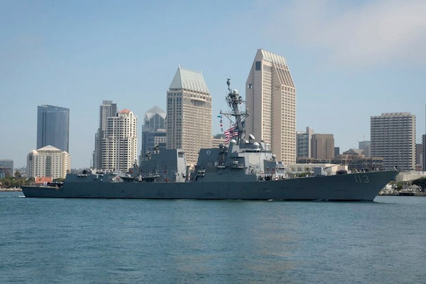 The future USS John Finn (DDG 113) transits San Diego Bay while arriving at its homeport of San Diego for the first time, July 1, 2017. The guided-missile destroyer's namesake, John Finn, is a Medal of Honor recipient for his actions as a chief aviation ordnanceman during the attack on Pearl Harbor and Oahu in 1941. The ship will be commissioned at Pearl Harbor, July 15.