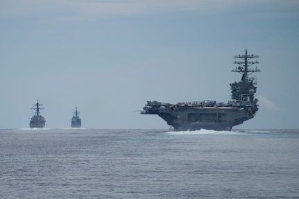 Ships assigned to the Nimitz Carrier Strike Group transit the Surigao Strait, July 3, 2017. The Nimitz Carrier Strike Group is currently deployed in the 7th fleet area of operations. The U.S. Navy has patrolled the Indo-Asia-Pacific routinely for more than 70 years promoting regional peace and security.