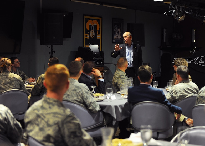 Congressman Greg Walden speaks to Airmen during a tour of Eielson Air Force Base July 7, 2017. Walden and six other congressional delegates on the House Committee of Energy and Commerce visited Iceland, Norway, Sweden and Alaska to learn more about the energy resource and capabilities in the Arctic Region. (U.S. Air Force photo by Staff Sgt. Jerilyn Quintanilla)