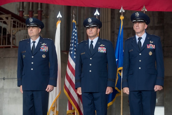 U.S. Air Force Lt. Gen. Jerry P. Martinez, U.S. Forces Japan and 5th Air Force commander, presides over the 18th Wing change of command from Brig. Gen. Barry Cornish to Brig. Gen. Case Cunningham July 10, 2017 at Kadena Air Base, Japan. The change of command is a traditional military ceremony in which the command is transferred to the incoming commander. (U.S. Air Force photo by Senior Airman John Linzmeier)