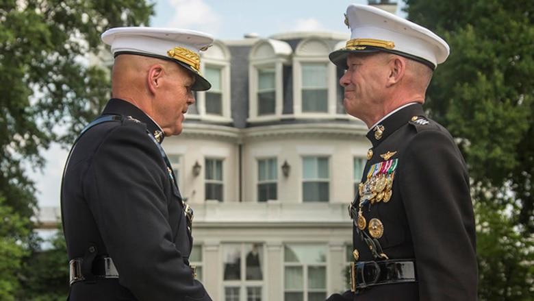 Commandant of the Marine Corps Gen. Robert B. Neller presented an award to U.S. Marine Corps Lt. Gen. Jon M. Davis, deputy commandant, Aviation, during Davis' retirement ceremony at Marine Barracks Washington, Washington, D.C., July 10, 2017. Davis retired after 37 years of service.