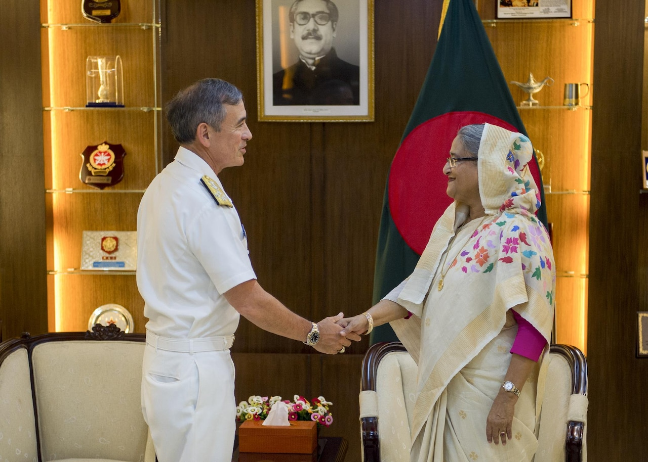 Navy Adm. Harry Harris, commander of U.S. Pacific Command, shakes hands with Bangladeshi Prime Minister Sheikh Hasina in Dhaka, Bangladesh, July 9, 2017. Navy photo by Petty Officer 2nd Class Robin W. Peak