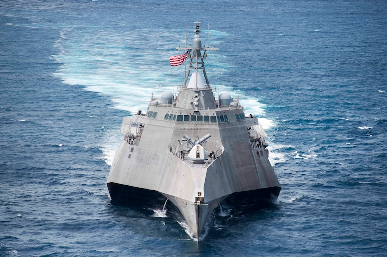 170603-N-PD309-113 GULF OF THAILAND (June 3, 2017) Littoral combat ship USS Coronado (LCS 4) steams ahead during a division tactics exercise in support of Cooperation Afloat Readiness and Training (CARAT) Thailand. CARAT is a series of Pacific Command-sponsored, U.S Pacific Fleet-led bilateral exercises held annually in South and Southeast Asia to strengthen relationships and enhance force readiness. CARAT exercise events cover a broad range of naval skill areas and disciplines including surface, undersea, air, and amphibious warfare; maritime security operations; riverine, jungle, and explosive ordnance disposal operations; combat construction; diving and salvage; search and rescue; maritime patrol and reconnaissance aviation; maritime domain awareness; military law, public affairs and military medicine; and humanitarian assistance and disaster response. (U.S. Navy photo by Mass Communication Specialist 3rd Class Deven Leigh Ellis/Released)