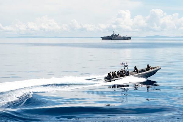 170623-N-PD309-184 BOHOL SEA (June 23, 2017) Members of the visit, board, search and seizure (VBSS) team aboard littoral combat ship USS Coronado (LCS 4) prepare to board Philippine Navy ship BRP BATAK (LC 299) during a VBSS exercise for Maritime Training Activity (MTA) Sama Sama 2017. MTA Sama Sama is a bilateral maritime exercise between U.S. and Philippine naval forces and is designed to strengthen cooperation and interoperability between the nations' armed forces.  (U.S. Navy photo by Mass Communication Specialist 3rd Class Deven Leigh Ellis/Released)