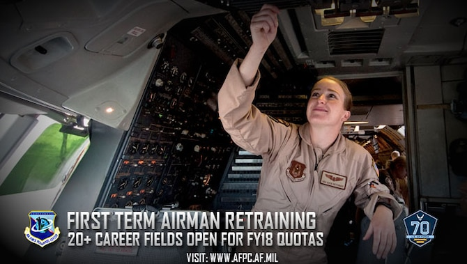 The First Term Airman Retraining Program allows first-term Airmen, including staff and technical sergeants who are in their first enlistment, to retrain in conjunction with a reenlistment. Flight engineer is one of the career fields on the list for fiscal year 2018. (U.S. Air Force photo by Shawn J. Jones)