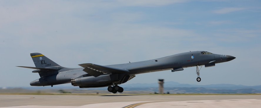 A B-1 Bomber takes off from Ellsworth Air Force Base, S.D., July 6, 2017. The aircraft is one of five B-1s that will take part in Red Fag – a joint exercise taking place at the Nevada Test and Training Range, near Nellis AFB, Nev. (U.S. Air Force photo by Airman Nicolas Z. Erwin)