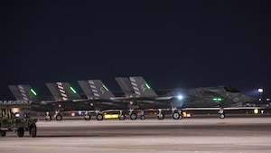 """Four F-35B Lightning IIs with Marine Fighter Attack Squadron 211 """"Wake Island Avengers,"""" 3rd Marine Aircraft Wing, wait to take off on the first day of Red Flag 17-3 at Nellis Air Force Base, Nev., July 10. Red Flag 17-3 is a realistic combat training exercise involving the U.S. Air Force, Army, Navy and Marine Corps and this iteration is the first to have both the Air Force's F-35A Lightning II and the Marine Corps' F-35B Lightning II, which is capable of short takeoff vertical landing."""