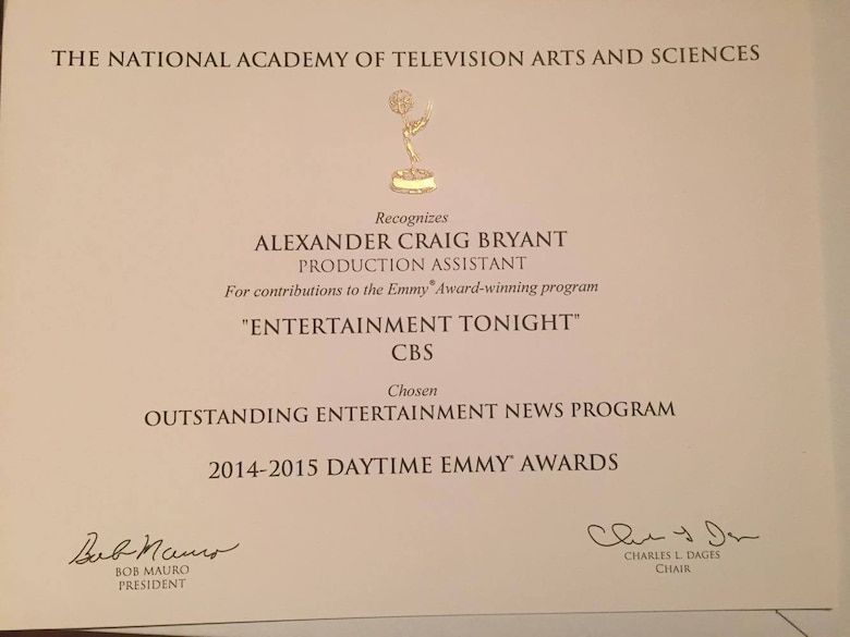 Alexander Bryant, social media strategist and graphic designer, was awarded a daytime Emmy certificate for when he was a production assistant for the Entertainment Tonight show in 2015. As a social media strategist and graphic designer, he creates print designs, digital designs and social media campaigns and provides social media correspondence at charities and red carpet events. (Courtesy photo)