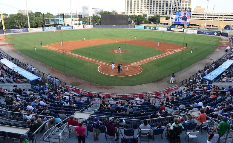 Keesler Air Force Base families attend the Biloxi Shuckers Minor League Baseball team's military appreciation night July 8, 2017, in Biloxi, Miss. The Shuckers recognized and honored service members and their families for the dedication, commitment and sacrifices they make for the nation. (U.S. Air Force photo by Kemberly Groue)