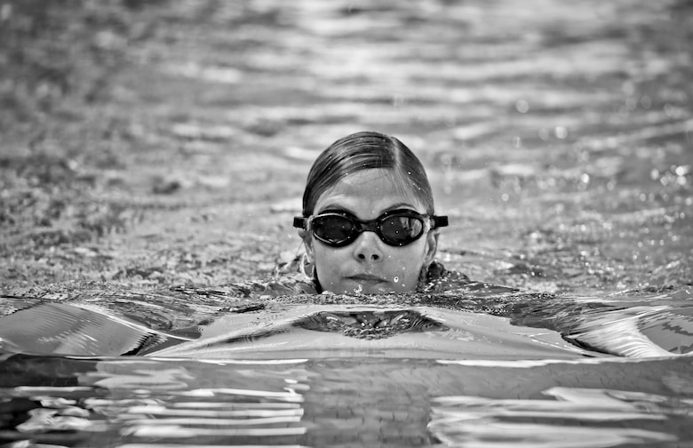 Air National Guard Master Sgt. Kimberley Kaminski swims the 100 meter portion of the German Armed Forces Badge for Military Proficiency test at Joint Base McGuire-Dix-Lakehurst, N.J., June 13, 2017. (U.S. Air National Guard photo by Master Sgt. Matt Hecht/Released)
