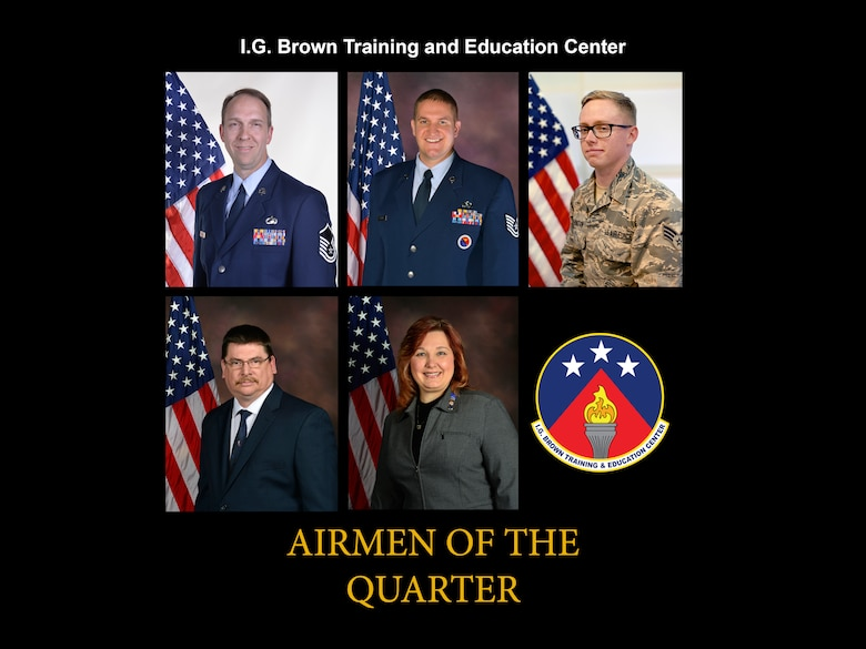 The I.G. Brown Training and Education Center Airmen of the Second Quarter, 2017, from top, left, Senior NCO of the Quarter Master Sgt.  Timothy Kinnan; NCO of the Quarter, Tech. Sgt. Jacob L. Sutton; Airman of the Quarter, Senior Airman David T. Wethington; Civilian of the Quarter Category III, Lawrence McCoy; Civilian of the Quarter Category II, Sabrina Tullock. (Air National Guard file photo illustration)