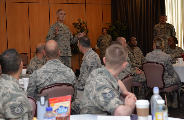 "Lt. Gen. R. Scott Williams, Continental U.S. NORAD Region-1 AF (AFNORTH) commander, speaks to technical sergeants during ""TIME: Tech Sergeants Involved &  Mentoring Enlisted Airmen,"" June 13 and 14. This event, designed for soon-to-be senior NCOs, was the last of a three-part enlisted professional-development initiative developed by the general as part of his fiscal 2017 priorities for the organization. Attendees included technical sergeants from across the CONR-1 AF (AFNORTH) enterprise. (Photo by Maj. Jared Scott)"
