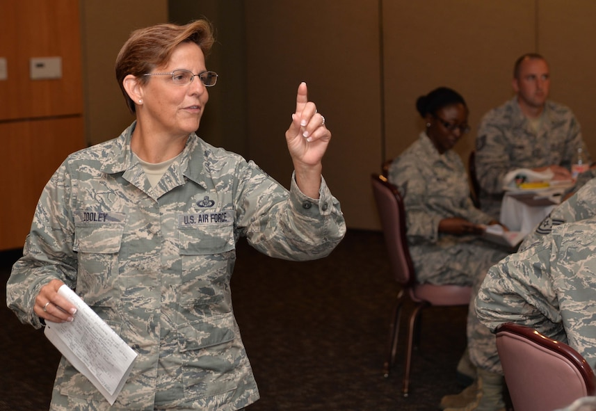 """Chief Master Sergeant Maureen Dooley, 224th Air Defense Group Chief Enlisted Manager from Rome, N.Y., makes a point during the professional development event, """"TIME: Tech Sergeants Involved &  Mentoring Enlisted Airmen,"""" June 13 and 14.  This event, designed for soon-to-be senior NCOs, was the last of a three-part enlisted professional development initiative developed by the Continental U.S. NORAD Region-1 AF (AFNORTH) commander, Lt. Gen. R. Scott Williams, as part of his fiscal 2017 priorities. Attendees included technical sergeants from across the CONR-1 AF (AFNORTH) enterprise. (Photo by Maj. Jared Scott)"""
