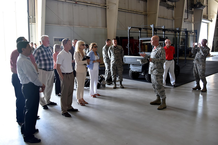 U.S. Air Force Lt. Col. Matthew Welling, 312th Training Squadron Commander, begins a tour for community leaders at the Louis F. Garland Department of Defense Fire Academy on Goodfellow Air Force Base, Texas, July 7, 2017. The fire academy tour was part of a larger tour designed to orient new San Angelo, Texas leaders. (U.S. Air Force photo by Staff Sgt. Joshua Edwards/Released)
