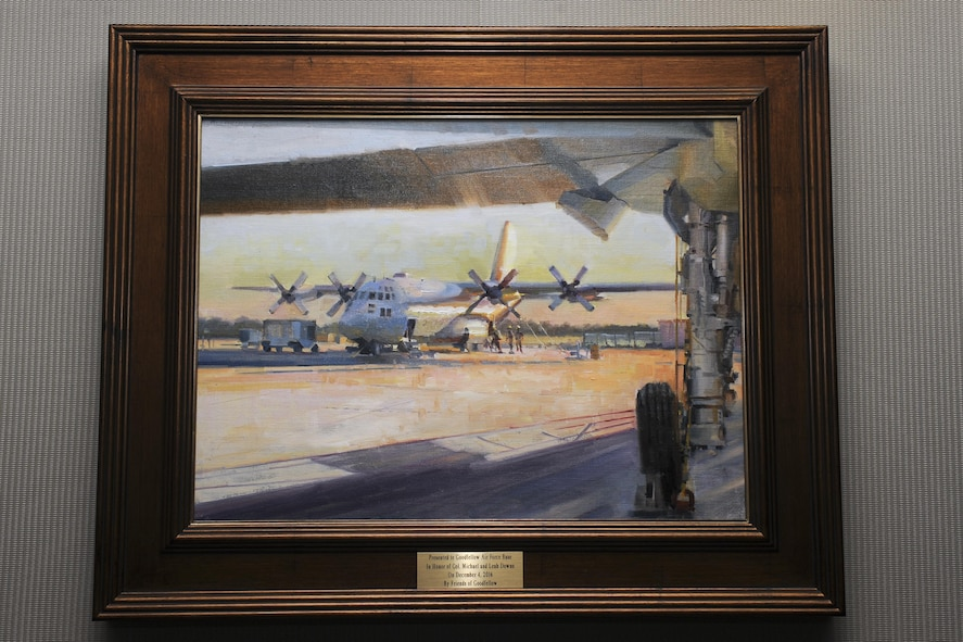 "The painting ""A Wing and a Prayer"" hangs on a wall in the Norma Brown Building on Goodfellow Air Force Base, Texas, June 29, 2017. The painting was painted by Hiu Lai Chong and was gifted to the wing in honor of U.S. Air Force Col. Michael Downs, 17th Training Wing Commander and his spouse Leah Downs who accepted it on behalf of the base. (U.S. Air Force photo by Senior Airman Scott Jackson/Released)"
