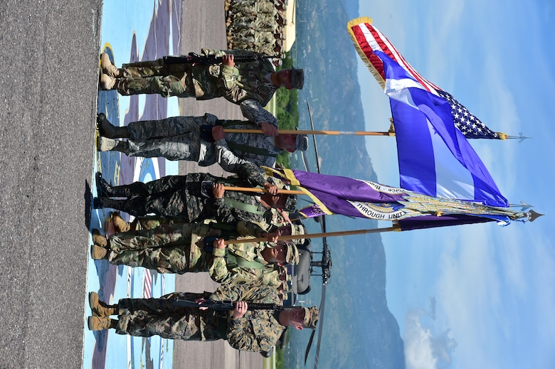 The color guard stands in formation during the Joint Task Force-Bravo Change of Command ceremony July 10, 2017 at Soto Cano Air Base, Honduras where U.S. Army Col. Keith McKinley assumed command of the Task Force.