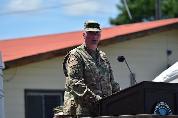 U.S. Army Col. Keith McKinley assumes command of Joint Task Force-Bravo July 10, 2017 during a Change of Command ceremony at Soto Cano Air Base, Honduras.