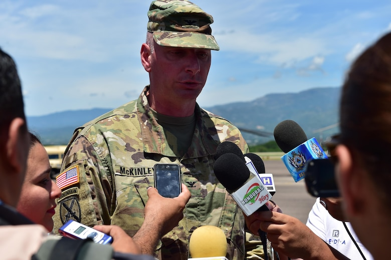 U.S. Army Col. Keith McKinley gives a press conference after the Change of Command ceremony at Soto Cano Air Base, Honduras. Col. McKinley assumed command of Joint Task Force-Bravo July 10, 2017 .