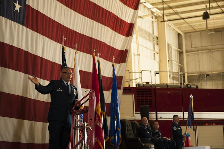 U.S. Air Force Col. Alejandro Ganster, 17th Training Group Commander, speaks during the 312th Training Squadron change of command ceremony at the Louis F. Garland Department of Defense Fire Academy High Bay, July 10, 2017. The 312th TRS welcomed Lt. Col. Scott D. Cline as the new Commander. (U.S. Air Force photo by Senior Airman Scott Jackson/released)