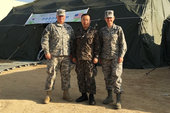 (From left to right) Sergeant 1st Class John Queen, U.S. Forces Korea public affairs, Maj. Hyun Chang Yong, ROK Armed Forces, and Capt. Bari Wald, USFK PA, worked as a team to successfully execute public affairs plans during Operation  Pacific Reach in April 2017.