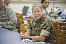 "Brig. Gen. Helen G. Pratt, the commanding general of 4th Marine Logistics Group, Marine Forces Reserve, attends a briefing at East Saint John High School in Reserve, Louisiana on July 10, 2017. The Louisiana Care Innovative Readiness Training event is a joint-service medical mission that provides the military with ""hands-on"" readiness training opportunities, while at the same time providing direct and lasting benefits to the residents of Louisiana. (Photo by U.S. Marine Lance Cpl. Ricardo Davila/Released.)"