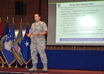 Defense Logistics Agency Aviation Commander Air Force Brig. Gen. Linda Hurry shares her background, vision and leadership philosophy with the DLA Aviation workforce at her first town hall in the Frank B. Lotts Conference Center June 29, 2017 on Defense Supply Center Richmond, Virginia.