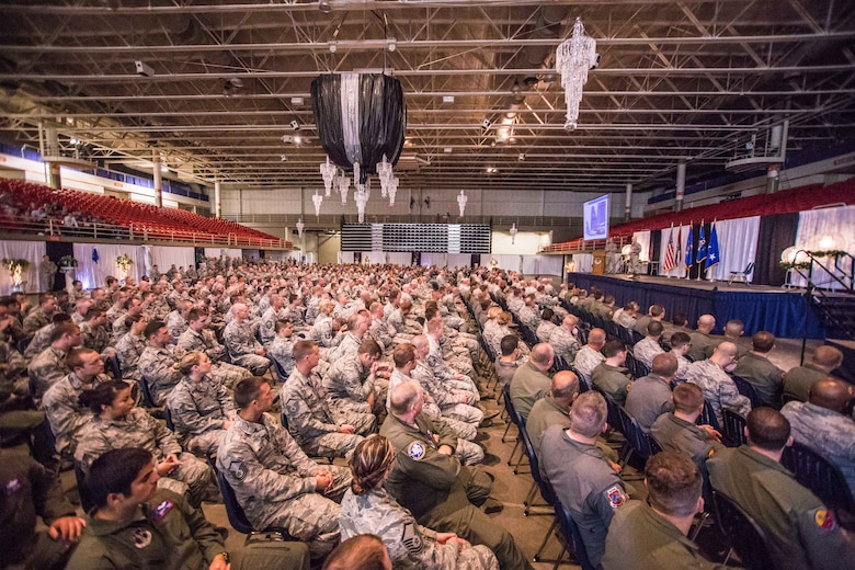 U.S. Airmen with the 139th Airlift Wing, Missouri Air National Guard listen as Lt. Gen. Scott Rice, director of the Air National Guard, and Chief Master Sgt. Ronald Anderson, command chief master sergeant of the Air National Guard, address Airmen at the St. Joseph Civic Arena, St. Joseph, Mo., July 8, 2017. Lt. Gen. Rice and Chief Master Sgt. Anderson, were in the process of visiting units across Missouri. While in St. Joseph, they toured Rosecrans Air National Guard Base, met with commanders and spent time talking with Airmen around the base. (Air National Guard photo by Staff Sgt. Patrick Evenson)