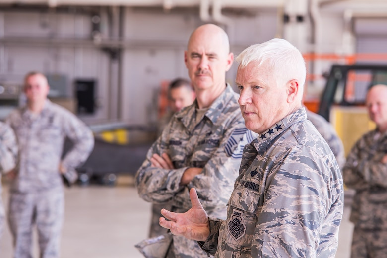 U.S. Air Force Lt. Gen. Scott Rice (front), director of the Air National Guard, and Chief Master Sgt. Ronald Anderson, command chief master sergeant of the Air National Guard, conduct a question and answer session with Airmen, during a tour of Rosecrans Air National Guard Base, while visiting the 139th Airlift Wing, Missouri Air National Guard, in St. Joseph, Mo., July 8, 2017. Lt. Gen. Rice and Chief Master Sgt. Anderson, were in the process of visiting units across Missouri. While in St. Joseph, they met with senior leadership and spent time talking with Airmen around the base. (Air National Guard photo by Staff Sgt. Patrick Evenson)