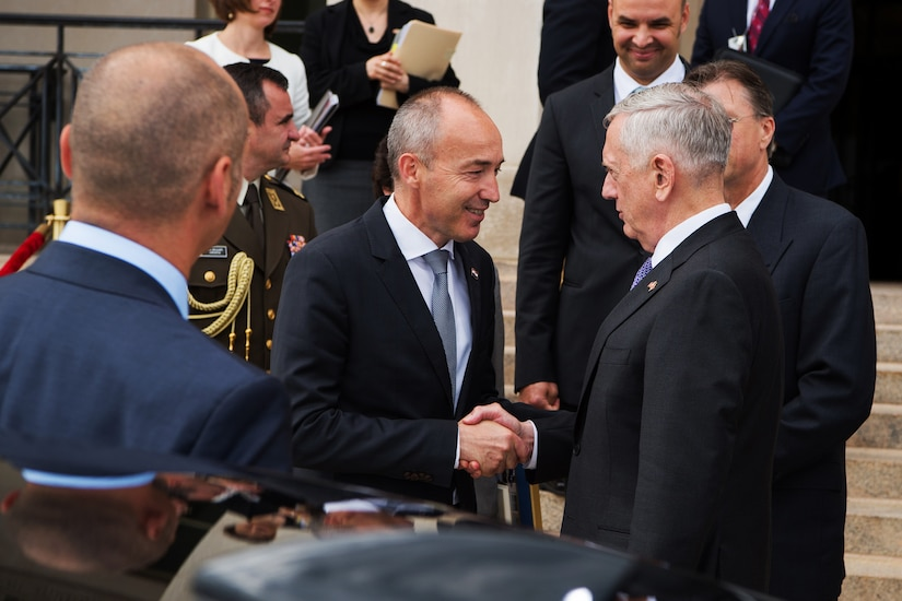 Defense Secretary Jim Mattis greets Croatian Defense Minister Damir Krsticevic before an honor cordon at the Pentagon in Washington, D.C., July 12, 2017. DoD photo by Army Sgt. Amber I. Smith