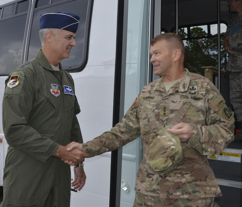 Lt. Gen. R. Scott Williams, Commander, Continental U.S. NORAD Region-1st Air Force (Air Forces Northern), greets Lt. Gen. Jeffrey Buchanan, Commander, U.S. Army North (Fifth Army) during Buchanan's visit July 11-12. During his visit, he toured the 601st Air Operations Center, the Killey Center for Homeland Operations and discussed current issues regarding their joint roles within the U.S. Northern Command enterprise. (Photo by Mary McHale)