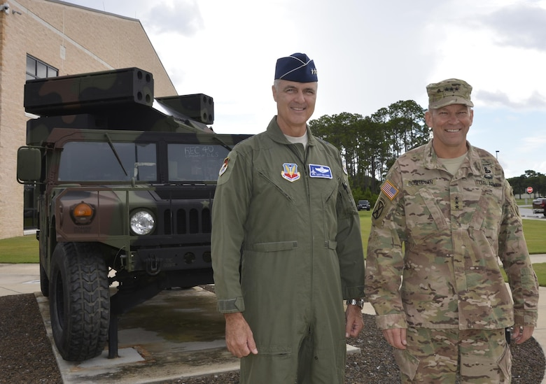 Lt. Gen. R. Scott Williams, Commander, Continental U.S. NORAD Region-1st Air Force (Air Forces Northern), stands with Lt. Gen. Jeffrey Buchanan, Commander, U.S. Army Northern in front of an Avenger Air Defense System static display in front of the Killey Center for Homeland Operations. during Buchanan's visit July 11-12. During his visit, he toured the 601st Air Operations Center, the Killey Center for Homeland Operations and discussed current issues regarding their joint roles within the U.S. Northern Command enterprise. (Photo by Mary McHale)