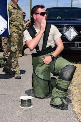 Senior Airman Bentley Davis, explosive ordnance disposal specialist with the Air National Guard's 147th Reconnaissance Wing in Houston, Texas warns area personnel of the impending explosion prior to detonating an improvised explosive device disruption charge during the Audacious Warrior exercise at Fort McCoy, Wis., July 27, 2017. The 12 day long exercise utilized the extensive training facilities of Volk Field Combat Readiness Training Center and Fort McCoy Total Force Training Center to provide EOD teams from eight different states comprehensive classroom and scenario based training in EOD tactics and procedures difficult to obtain at their respective home stations. (U.S. Air National Guard Photo by Master Sgt. Paul Gorman)