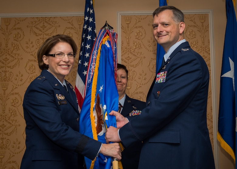 Col. Jonathan C. Rice IV takes command of the 363rd Intelligence, Surveillance and Reconnaissance Wing July 7, 2017. Maj. Gen. Mary F. O'Brien, commander, 25th Air Force, officiated the ceremony at Joint Base Langley-Eustis, Virginia. (U.S. Air Force Photo by Staff Sgt. Areca Bell)