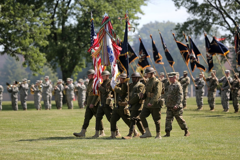 In honor of the 85th Support Command's centennial anniversary, Army Reserve Soldiers wear World War I-era uniforms to present the colors during the unit's relinquishment of command ceremony in Arlington Heights, Ill., July 9, 2017. The unit's lineage dates to August 5, 1917, when it was constituted as the 85th Infantry Division at Camp Custer, Mich., in preparation for World War I.  (U.S. Army photo by Master Sgt. Anthony L. Taylor)
