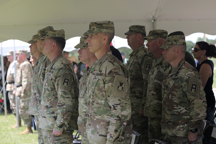 First Army commanders and senior leaders stand amongst guests during the 85th Support Command's relinquishment of command ceremony, July 9, 2017, at their headquarters in Arlington Heights, Illinois. Brig. Gen. Frederick R. Maiocco, Jr. Commanding General, 85th Support Command, relinquished the command colors to Maj. Gen. Tracy A. Thompson, Deputy Commanding General for Support, U.S. Army Reserve. The 85th Support Command, partnered with First Army, is made up of 46 Army Reserve battalions, nine brigade support elements, and nearly 4,300 Soldiers and Civilians that spanned across the continental United States and Puerto Rico, and generate combat ready units and Soldiers for the Army that are trained, equipped and lethal to win the nation's wars.  (U.S. Army photo by Master Sgt. Anthony L. Taylor)