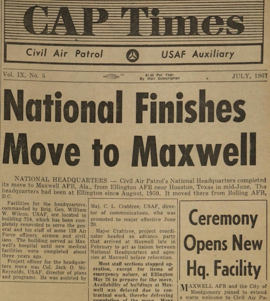 National Headquarters' move to Maxwell understandably led off the July 1967 issue of the organization's monthly newspaper. (courtesy photo)