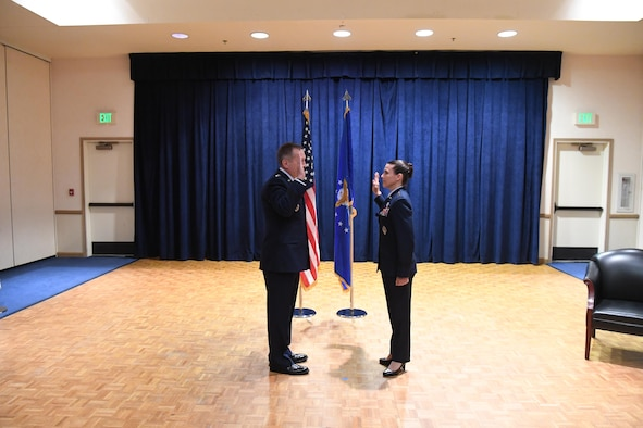 Maj. Gen. Pamela J. Lincoln, Mobilization Assistant to the Commander, 14th Air Force (Air Forces Strategic) and Joint Functional Component Command for Space, is administered the oath of office by Lt. Gen. David J. Buck, 14th AF (AFSTRAT) and JFCC SPACE Commander, during a ceremony marking her promotion to major general July 10, 2017 at Vandenberg Air Force Base, California. (U.S. Air Force photo by Capt. Nicholas Mercurio/Released)