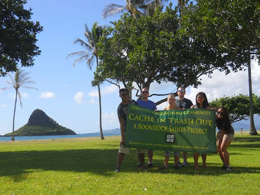 """The 477th Maintenance Squadron Airmen TDY in Hawaii showed their commitment to community service by organizing and participating in the clean up program """"Cache In, Trash Out"""" on the beaches of Hawaii May, 2017"""