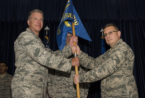 U.S. Air Force Col. David Williams Jr. (right), 39th Mission Support Group incoming commander, assumes command from Col. David Eaglin, 39th Air Base Wing commander, July 13, 2017, at Incirlik Air Base, Turkey. A change of command ceremony is a tradition that represents a formal transfer of authority and responsibility from the outgoing commander to the incoming commander. (U.S. Air Force photo by Airman 1st Class Devin M. Rumbaugh)