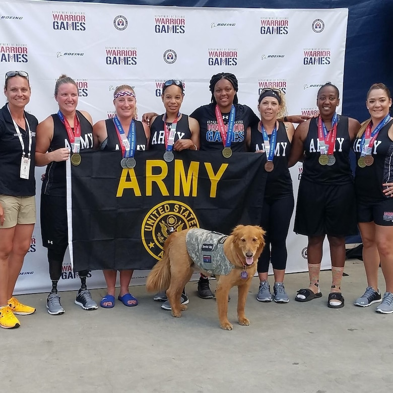 Sgt. 1st Class Heather Moran, 3rd from left, represented the 364th ESC in the 2017 DoD Warrior games as part of the cycling, shooting, shot put and discus throw team. The Warrior games is an adaptive sports competition for wounded, ill and injured service members and veterans participating in eight sporting events in Chicago from June 30 – July 08.