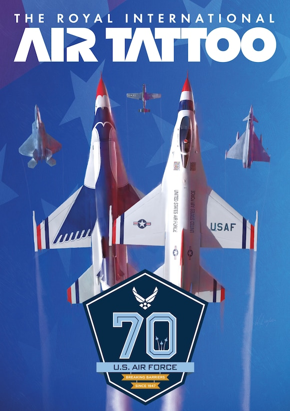 """U.S. military personnel from bases in Europe and the United States will participate in this year's Royal International Air Tattoo July 14-16, 2017, at Royal Air Force Fairford, United Kingdom. United States Air Forces in Europe designated this year's airshow as a commemoration event to celebrate the U.S. Air Force's 70th birthday. The theme for this event is, """"American Airmen: Breaking Barriers since 1947."""