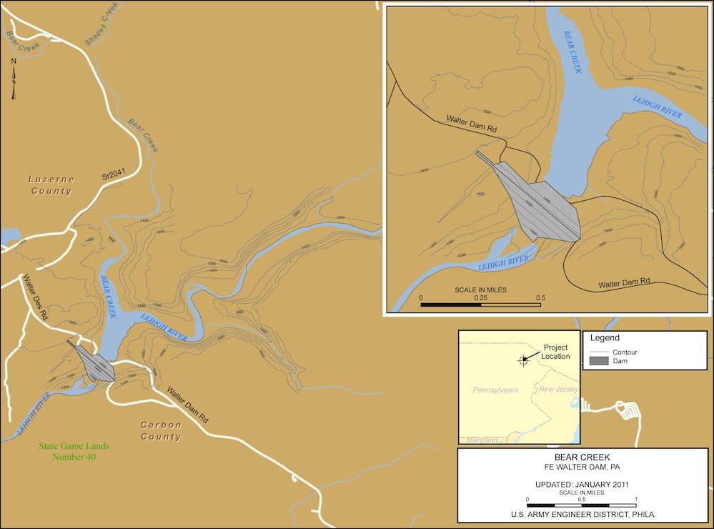 Project Index Map for Francis E. Walter Dam