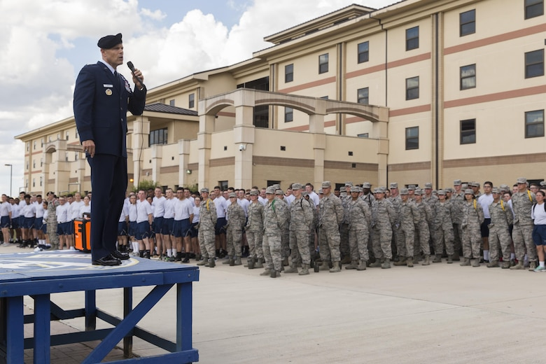 U.S. Air Force Brig. Gen. Bradley D. Spacy, Installation and Mission Support Center commander, addresses the airmen with the 343rd Training Squadron before a demonstration of the U.S. Air Force Honor Guard at Joint Base San Antonio-Lackland, Texas July 7, 2017. Spacy was the commander of the Honor Guard in Fresno, Calif.