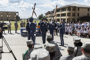 U.S. Air Force Honor Guard perform for Airmen from the 343rd Training Squadron at Joint Base San Antonio-Lackland, Texas July 7, 2017. The Honor Guard embodies the Air Force Core Values through their precise movements, discipline and military professionalism. They are based from Washington, D.C. and led by Maj. Gen. Bradley D. Spacy, Installation and Mission Support Center commander.