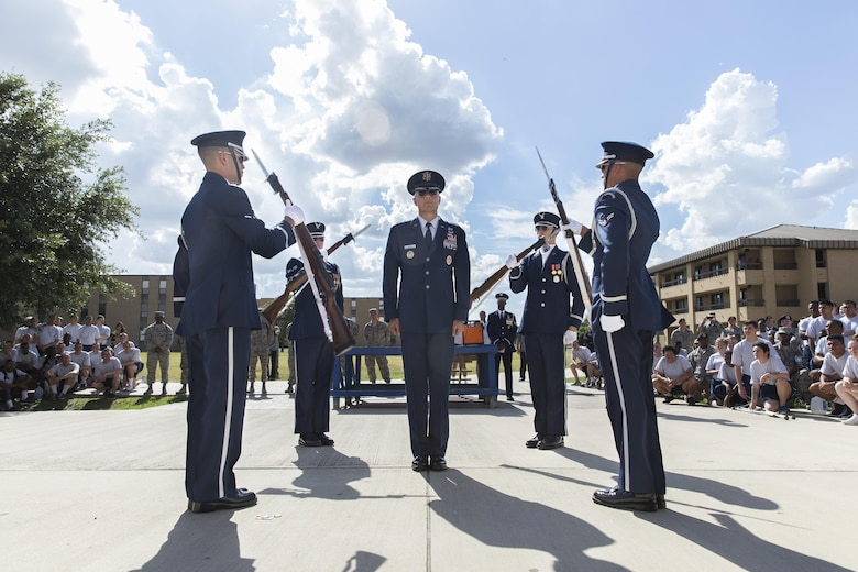 U.S. Air Force Honor Guard perform for airmen with the 343rd Training Squadron at Joint Base San Antonio-Lackland, Texas July 7, 2017. The honor guard embodies the Air Force Core Values through their precise movements, discipline and military professionalism. They are based from Washington, D.C. and led by Brig. Gen. Bradley D. Spacy, Installation and Mission Support Center commander.