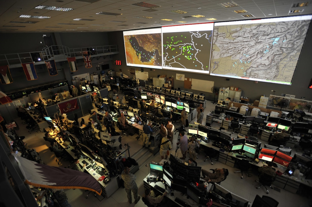 Combined Air Operations Center (CAOC) at Al Udeid Air Base, Qatar, provides command and control of air power throughout Iraq, Syria, Afghanistan, and 17 other nations. The CAOC, and more than 20 other Air Operations Centers throughout the world, rely on the Air Operations Center weapons system, managed, sustained and upgraded by the Air Force Life Cycle Management Center, Hanscom Air Force Base, Massachusetts.  (U.S. Air Force photo by Tech. Sgt. Joshua Strang)