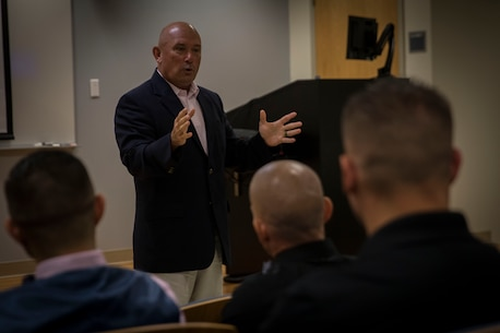 "U.S. Marine Brig. Gen. Austin ""Sparky"" Renforth speaks to the recruiters of Recruiting Station Portsmouth during the command's monthly training period held at the Survival, Evasion, Resistance and Escape school on the Portsmouth Naval Shipyard in Kittery, Maine, July 12, 2017. Renforth spoke to the Marines about their contributions to the national recruiting effort. Renforth is the commanding general of Marine Corps Recruit Repot Parris Island, S.C., and Marine Corps Recruiting Command's Eastern Recruiting Region."