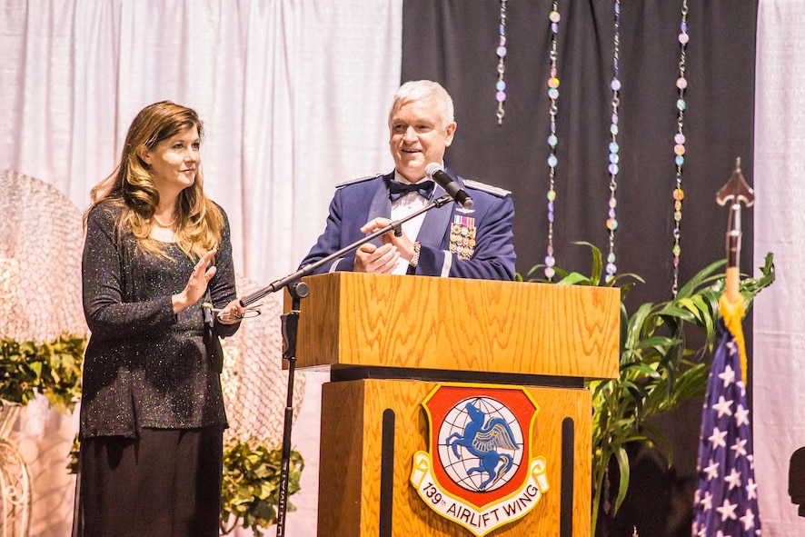 U.S. Air Force Lt. Gen. Scott Rice (right), director of the Air National Guard, and his wife Nancy Rice, speak at the 139th Airlift Wing Military Ball, at the St. Joseph Civic Arena, St. Joseph, Mo., July 8, 2017. Gen. Rice was the keynote speaker of the event. Earlier in the day he had the chance to tour Rosecrans Air National Guard Base, meet with commanders and spend time talking with Airmen around the base. (Air National Guard photo by Staff Sgt. Patrick Evenson)