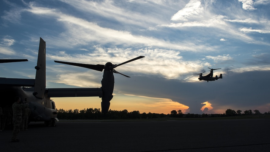 An 8th Special Operations Squadron CV-22 Osprey tiltrotor aircraft descends for a landing during Total Force Exercise 17-3 at Himsel Army Airfield, Ind., July 9, 2017. The Osprey is a versatile, self-deployable aircraft that offers increased speed and range over other rotary-wing aircraft, enabling Air Force Special Operations Command aircrews to execute long-range special operations missions, any time, any place. (U.S. Air Force photo by Airman 1st Class Joseph Pick)