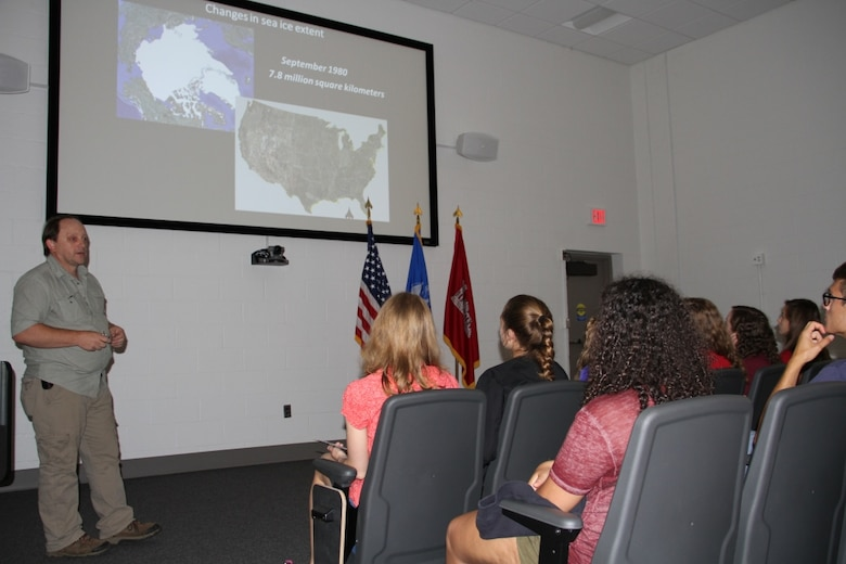Research physical scientist Bruce Elder shares polar engineering research issues with Advanced Studies Program students from St. Paul's School in Concord, New Hampshire, during a field trip to the U.S. Army Cold Regions Research Laboratory on July 12.